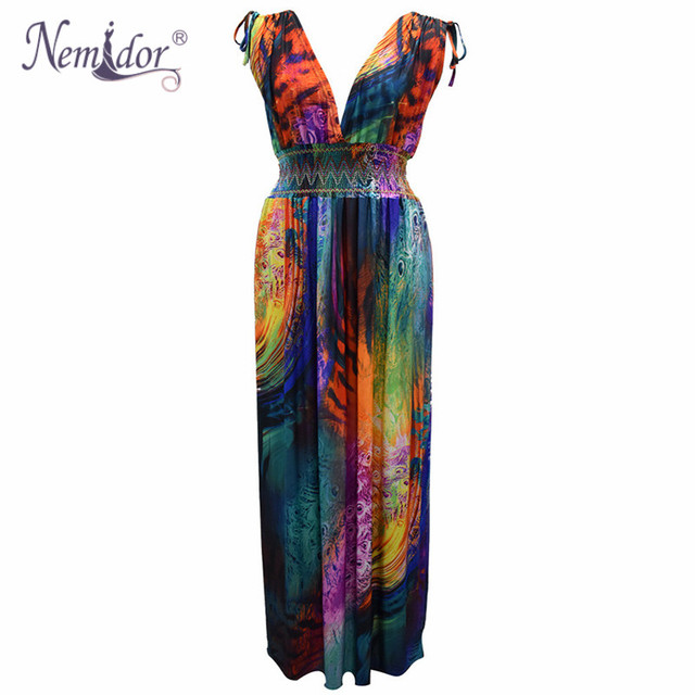 Women Sexy V-neck Beach Stretchy Print Dress Plus Size 7XL Vintage Sleeveless Patchwork Long Dress 3