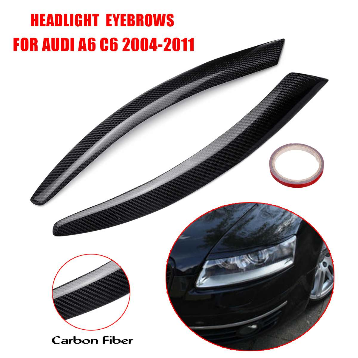 2pcs Carbon Fiber Car Headlight Eyebrow Cover Trim Sticker Head Lamp Eyelid for Audi A6 C6 2005 2006 2007 2008 2009 2010 2011 image