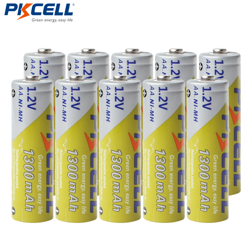 10pcs/lot PKCELL AA NiMH Battery 1300mAh 1.2V Ni-MH 2A Rechargeable Battery Batteries For Flashlights image