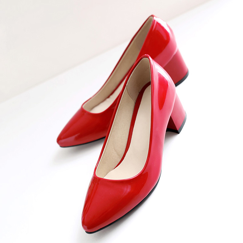Chinese simple style sexy pointed toe paint pumps slip on black white pink red blue med