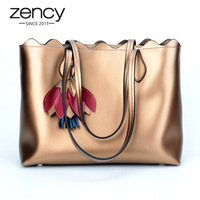 Zency Luxury Gold Women Shoulder Bag 100% Genuine Leather Tote Handbag Large Capacity Shopping Bags For Lady Fashion Silver Blue