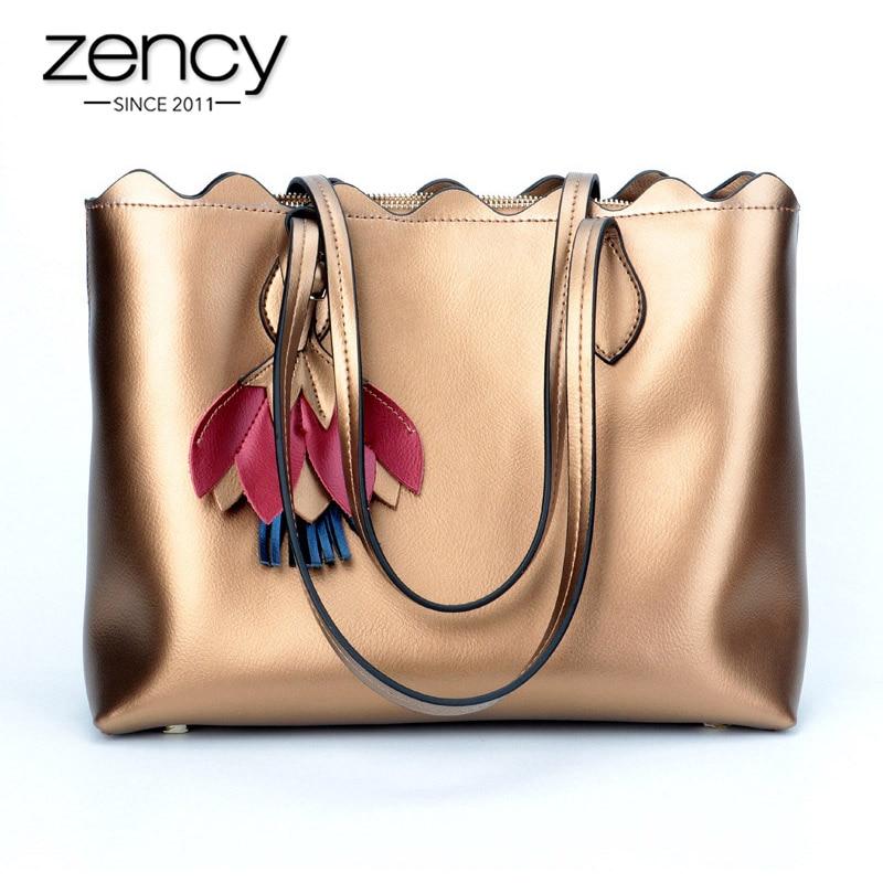 Bolsa de Ombro Bolsas de Compras para a Senhora Zency Luxo Ouro Mulheres Couro Genuíno Tote Bolsa Grande Capacidade Moda Prata Azul 100%