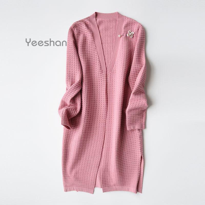 Yeeshan Pearl Knitted <font><b>Long</b></font> Sweater Women Winter Female Autumn <font><b>Long</b></font> Sleeves Solid Loose <font><b>Ribbed</b></font> <font><b>Cardigan</b></font> Woman New Fashion 2016