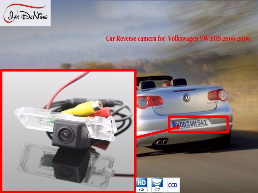 JanDeNing License Plate Light OEM For Volkswagen VW EOS 2006-2009 Waterproof HD CCD Car RearView Parking/Backup Reverse Camera