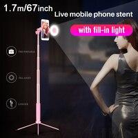 170 см 67in Bluetooth селфи палка штатив с кольцом света селфи красота портрет заполняющее освещение для iPhone XS 7 plus huawei P20 Pro