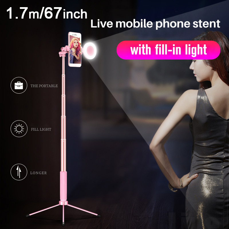 170 cm 67in Bluetooth Bastone Selfie Treppiede con Anello di Luce Selfie Ritratto di Bellezza di Riempimento di Illuminazione per il iphone XS 7 plus huawei P20 Pro