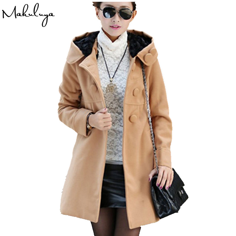 Makuluya 2016 autumn winter women coat slim woolen trench medium long plus velvet thicken hooded sweatshirt girl outerwear BK