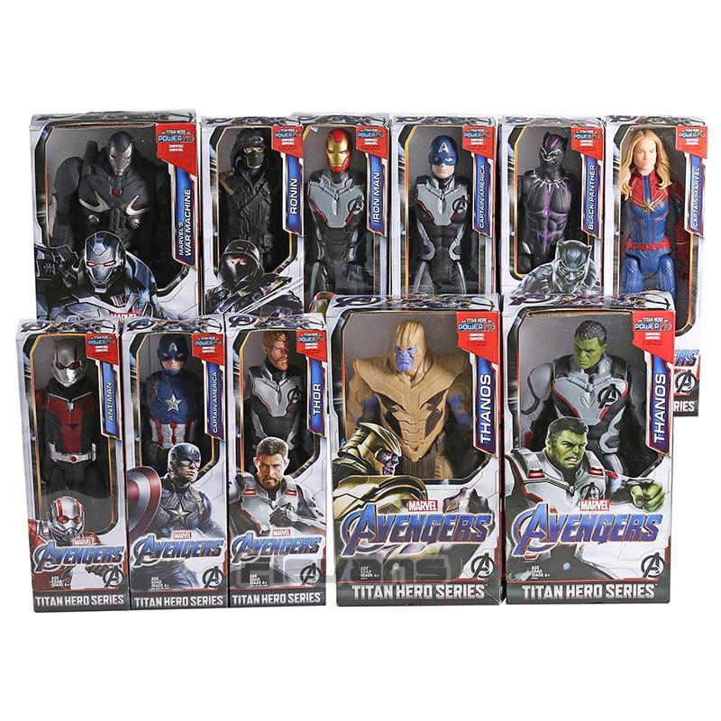 Avengers Endgame Titan Hero Power FX Thanos Hulk Captain America Marvel Iron Man Thor War Machine Ant Man PVC Action Figure Toy
