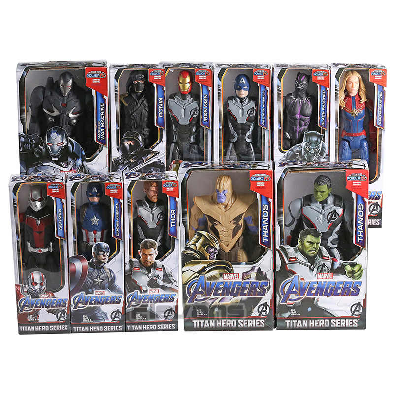 Avengers Endgame Titan Hero Power FX Thanos Hulk Captain America Marvel Iron Man Thor สงครามเครื่อง Ant Man PVC Action ของเล่นรูป