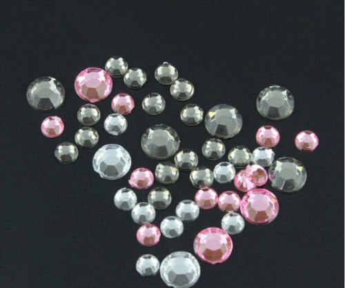 Transparent Gray pink clear 3Colors Multi-size Nail Art 3D Lot Glitter Rhinestone Cute DIY Accessories Wheel for Nail Gel Polish
