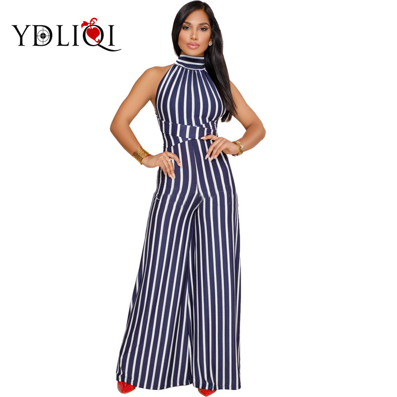 YDLIQI 2018 Summer Women One piece jumpsuit romper Sexy Sleeveless Halter Striped Wide leg pants vintage full jumpsuit overalls