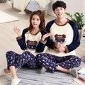Pijamas pareja Amor Coreano Hombres Ropa de Dormir de Las Mujeres Pijamas de Dibujos Animados de Franela ropa de Dormir de Invierno