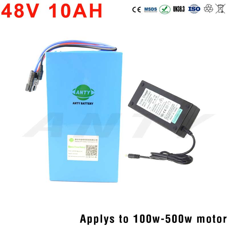 eBike Battery 48V 10Ah Lithium Battery For Electric Bikes Wth 54.6V 2A Charger 48V 18650 Lithium Battery Pack Freeshipping 48v 34ah triangle lithium battery 48v ebike battery 48v 1000w li ion battery pack for electric bicycle for lg 18650 cell
