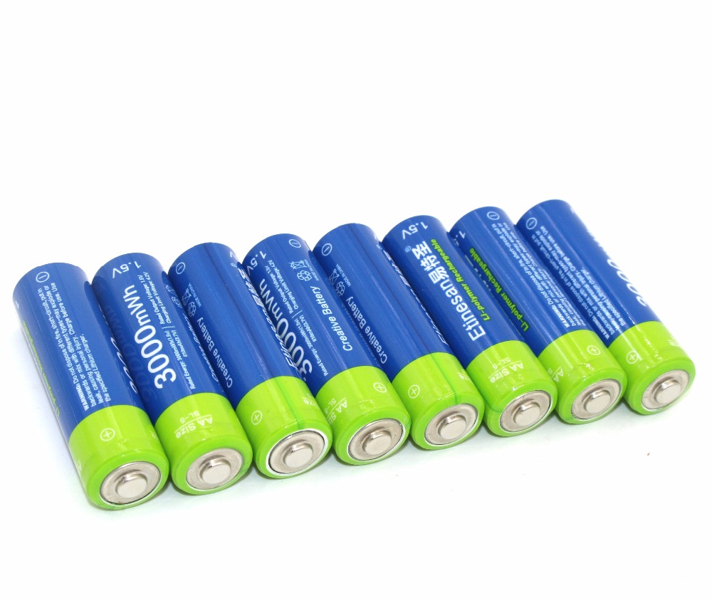 NEW 8pcs lot Etinesan 3000mWh AA Li polymer Li Po Lithium Rechargeable Batteries