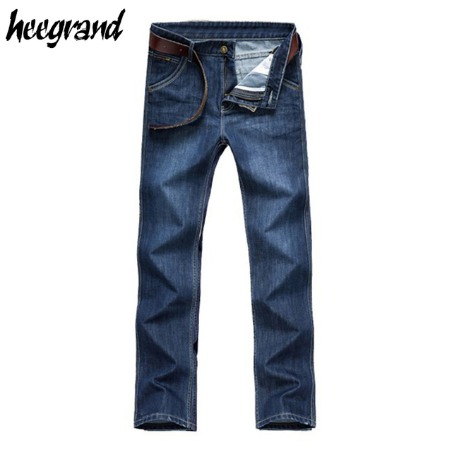 HEE GRAND Men's Straight Jean 2017 New Fashion Mens Jeans Loose Classical Pleated Washed Wholesale Oversized Jeans Hombre MKN328