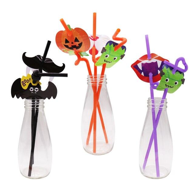 New Halloween Straws Disposable Tableware Sets Black Bat Pumpkin Ghost Festival Halloween Theme Party Drink Straw Supplies