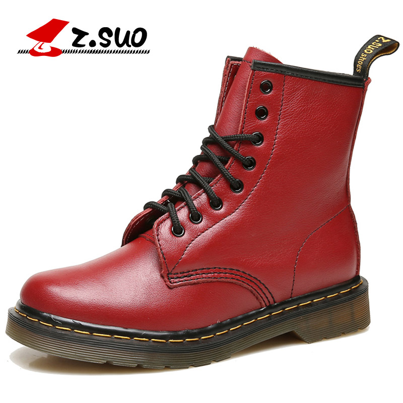 Z.Suo Brand Women Boots Spring Genuine Leather Flat Mid-Calf Boots Red Lace-up Comfortable Female Motorcycle Boots botas mujer stylish women s mid calf boots with solid color and fringe design