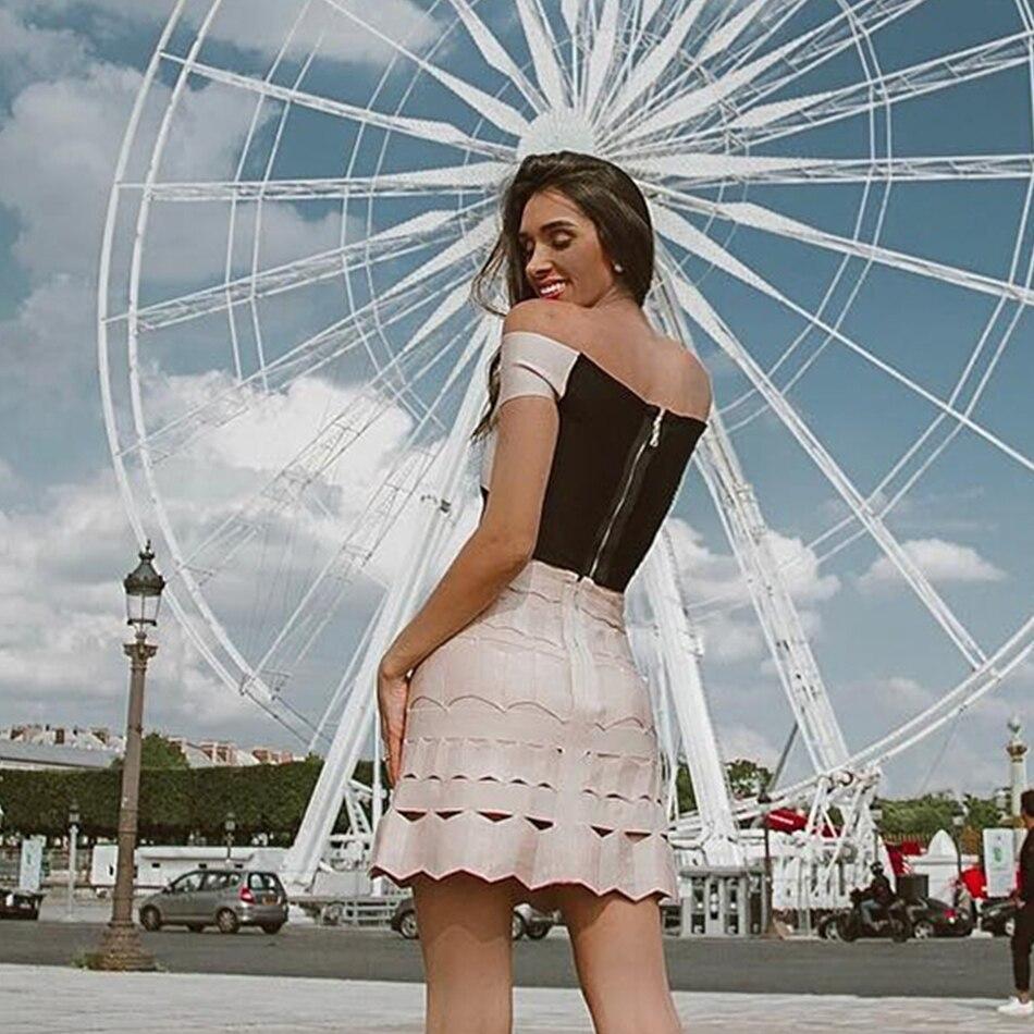 Top Moulante Femmes 2018 Deux Bandage D'été Set Photo Robes Définit Partie Robe Verano Soirée Adyce As Cou Pièces Célébrité Slash 2 De pxwOCqdp5