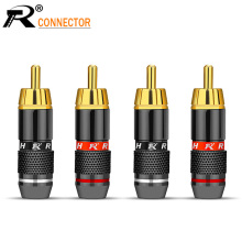 4pcs/2pairs Gold Plated RCA Connector RCA male plug adapter Video/Audio Wire Connector Support 6mm Cable black&red super fast цена