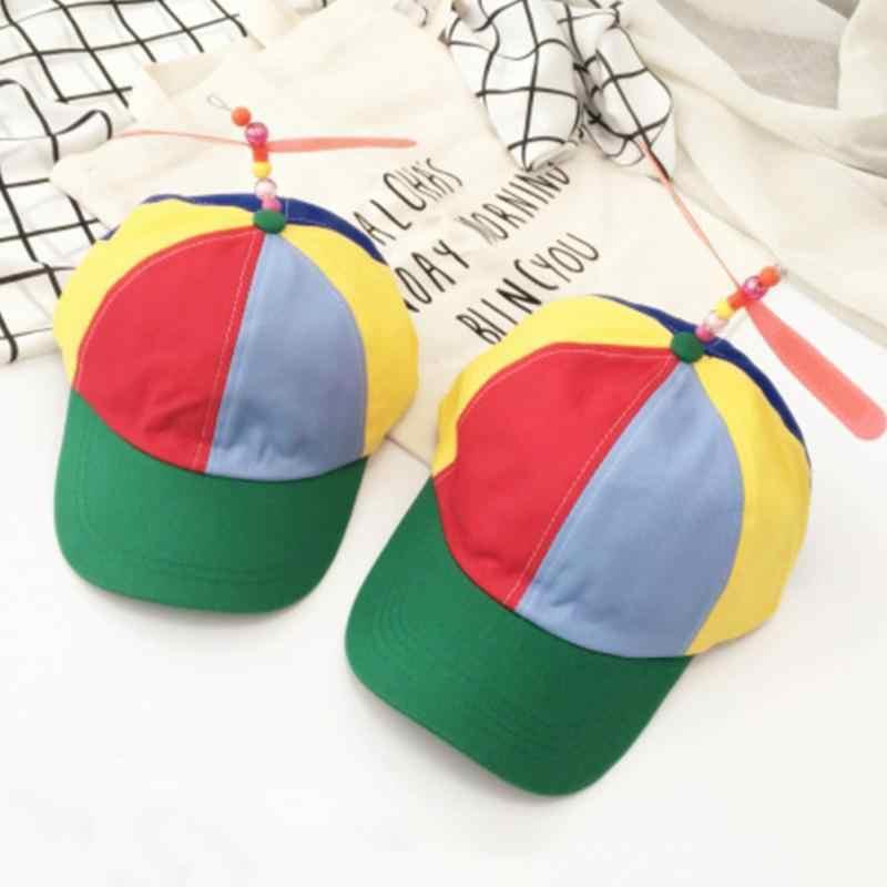 a32f84a06a711 Verano Unisex creativo de la hélice gorra ajustable gorra de béisbol  helicóptero Color Arco Iris sombrero