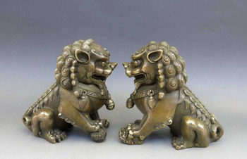 Hand Chinese Brass Copper Animal Feng Shui Foo Dog Lion Town House Statue Pair Wholesale 2PCS Factory Bronze Arts Outlets