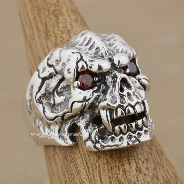 925 Sterling Silver Red CZ Stone Eyes Skull Claw Mens Biker Ring 9K021 solid 925 sterling silver claw skull red cz eyes mens biker pendant 8x017 necklace 24inch