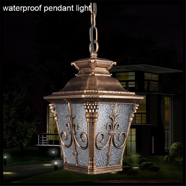 Outdoor retro waterproof chain pendant light outdoor garden lawn lights vintage industrial e27 yard pathway hanging