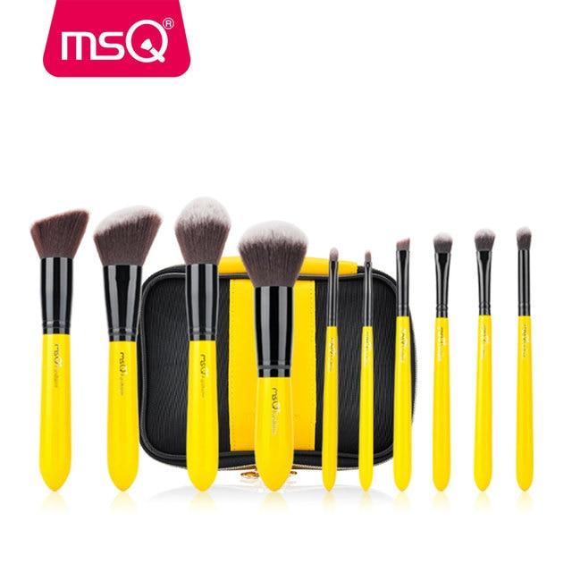 MSQ 10pcs Pro Makeup Brush Set Face Basic Brush Blending Eyeshadow Lip Make Up Brush Kit Soft Synthetic Hair Cosmetics Tool