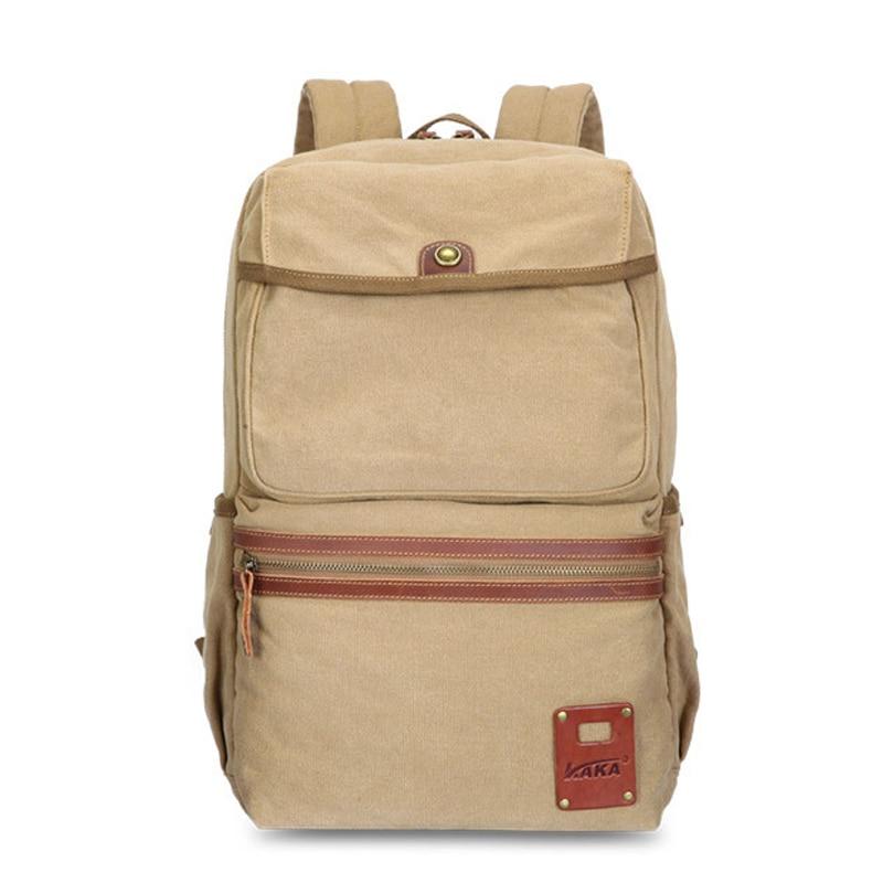 ФОТО KAKA Vintage College Quality Leather Canvas Men/Male/Student Rucksack Backpack School Bag Satchel Fashion Mochilas
