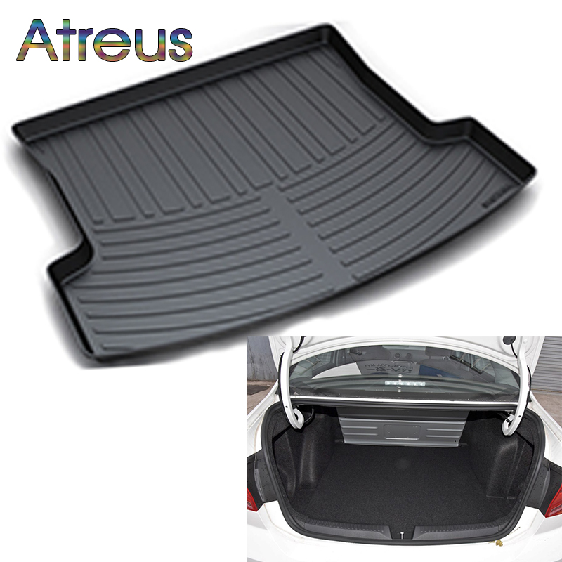 Atreus Car Rear Trunk Floor Mat Durable Carpet For Volkswagen VW Jetta Mk6 2013-2017 Boot Liner Tray Waterproof Anti-slip mat atreus car rear trunk floor mat durable carpet for toyota corolla e140 e150 2007 2013 boot liner tray waterproof anti slip mat