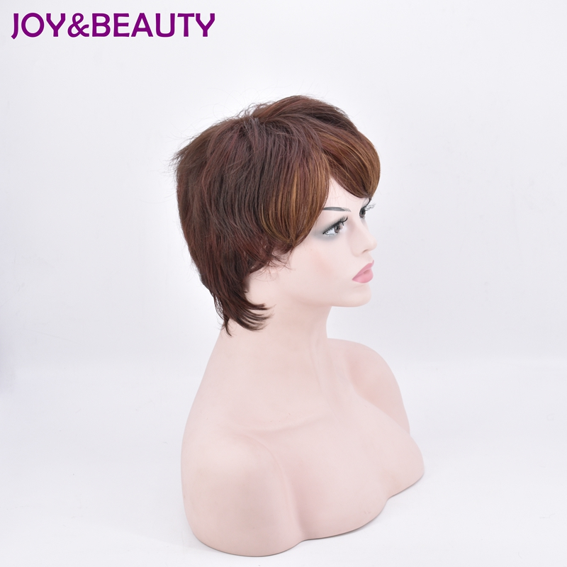 JOY&BEAUTY Short Body Wave Synthetic hair Wig High Temperature Fiber Light brown/deep brown color 10inch For Women Wig