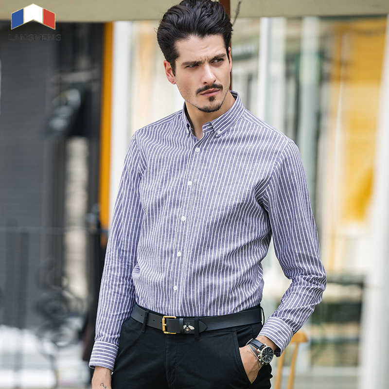 LANGMENG 新着長袖純粋な綿のストライプカジュアルシャツ男性ファッションビジネスシャツ男性ドレスシャツブランド服