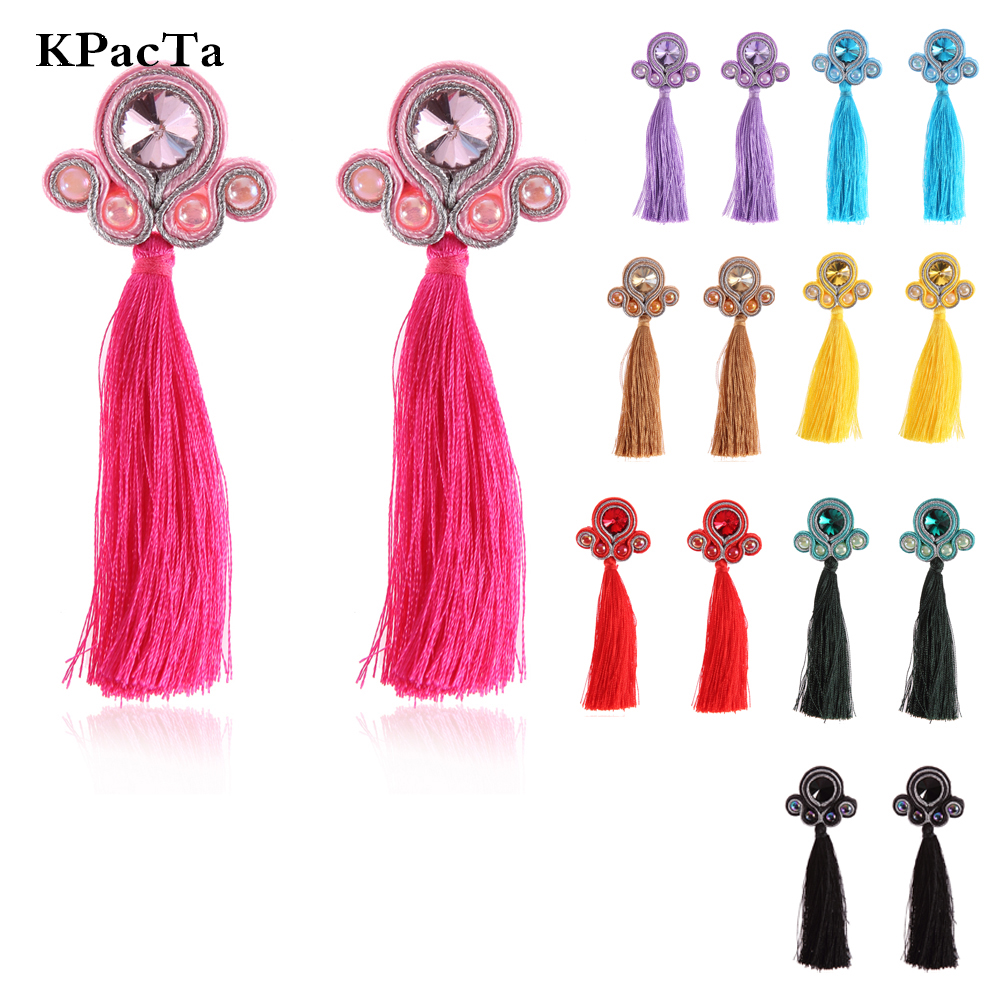 best long earrings with crystals and leather tassel near me