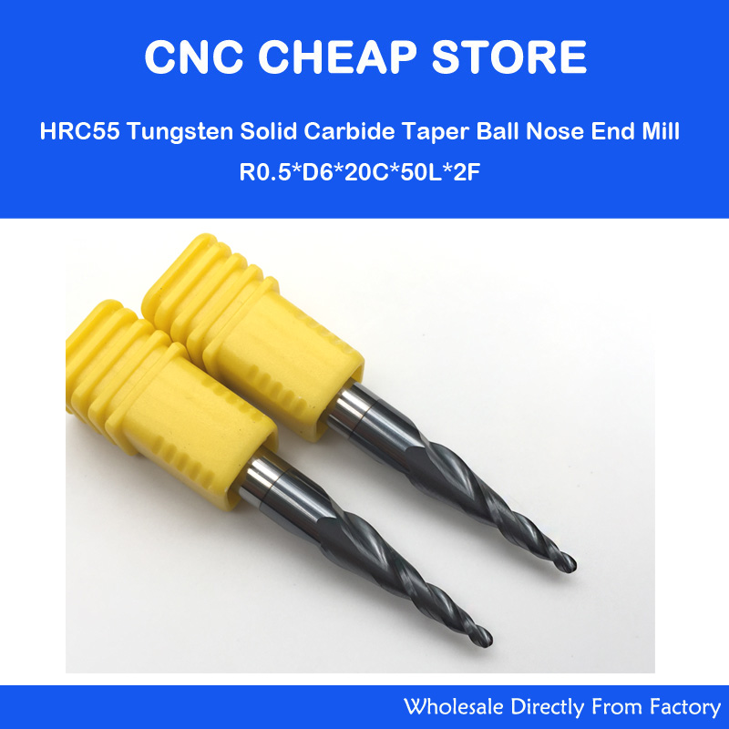 2pcs R0.5*20*D6*50L Real hrc55 2 flutes tungsten carbide tapered ball nose end mill milling cutter CNC engraving router bits 1pc radius 3mm 2 flutes hrc55 r3 6 d6 75 solid carbide ball nose end mill cnc router bits tools milling cutter
