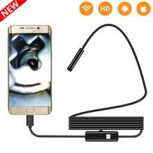 2 м 1 м 5,5 мм 7 мм эндоскопа Камера гибкие IP67 Водонепроницаемый инспекции бороскоп Камера для Android PC Тетрадь 6 светодиодов регулируемый