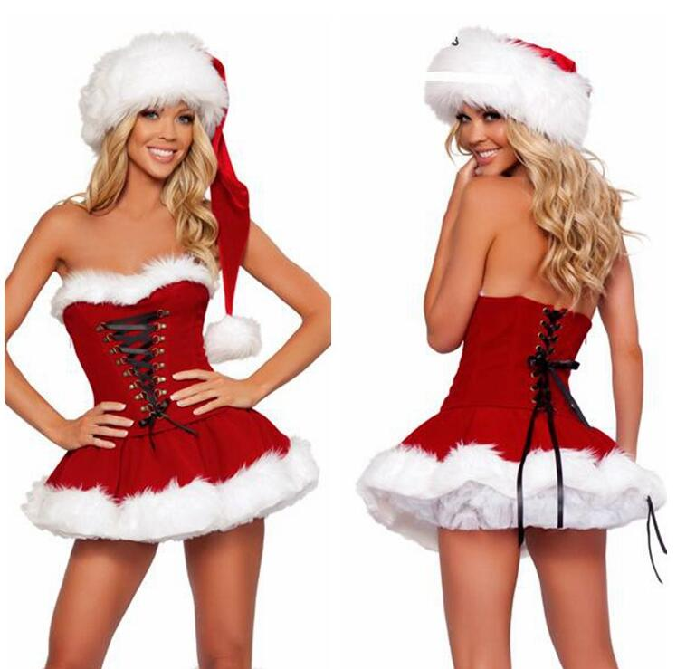 New 3PCs Christmas Sexy Lace Up Corset+ Skirt+ hat Fuzzy Winter Dancing Costume Club Dress