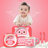 Baby Tableware Set Learning Dishes Feeding Food Kids Dishes Children Dinnerware With Plate And Bamboo Bowl
