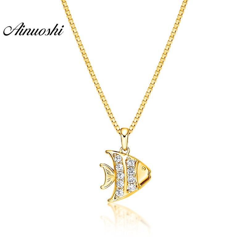 купить AINUOSHI 10K Solid Yellow Gold Pendant Cute Fish Pendant SONA Diamond Women Men Child Jewelry Ocean Fish 1.5g Separate Pendant недорого
