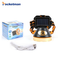 Solar Energy USB Interface LED Headlamp Powerful Inside Rechargeable Battery Head Lamp Bike Torch for Camping Hunting Light