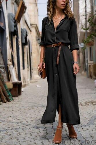 Модное женское Повседневное платье макси с длинным рукавом, свободная Длинная блузка, платье-рубашка, летние элегантные платья, Vestido, 2019