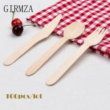 GIEMZA Eco одноразовые вилки из березовой древесины одноразовые ножи экологически чистые одноразовые столовые приборы деревянные столовые вилки столовая посуда