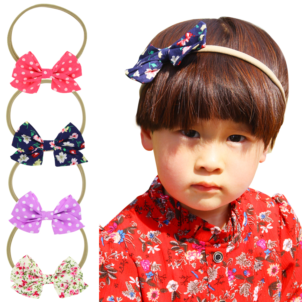 YUZEHD 10pcs lot Girls Bow Headband Elastic Hair Accessories DIY Dot Floral Fabric Bow heabands Ring Kids Hair Accessories ...