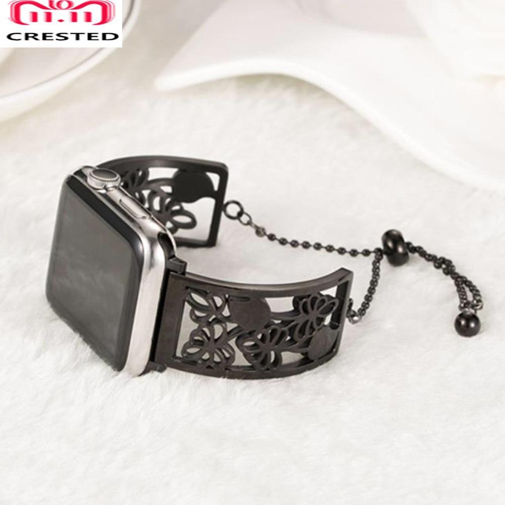 Correa de acero inoxidable CRESTED 316 para apple watch band 42mm 38mm diamond Iwatch Series 3 2 1 pulsera Correa