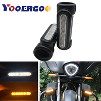 Black Motorcycle Highway Bar Switchback Turn Signal Light White Amber LED For Crash Bars for Harley Touring Models For victory