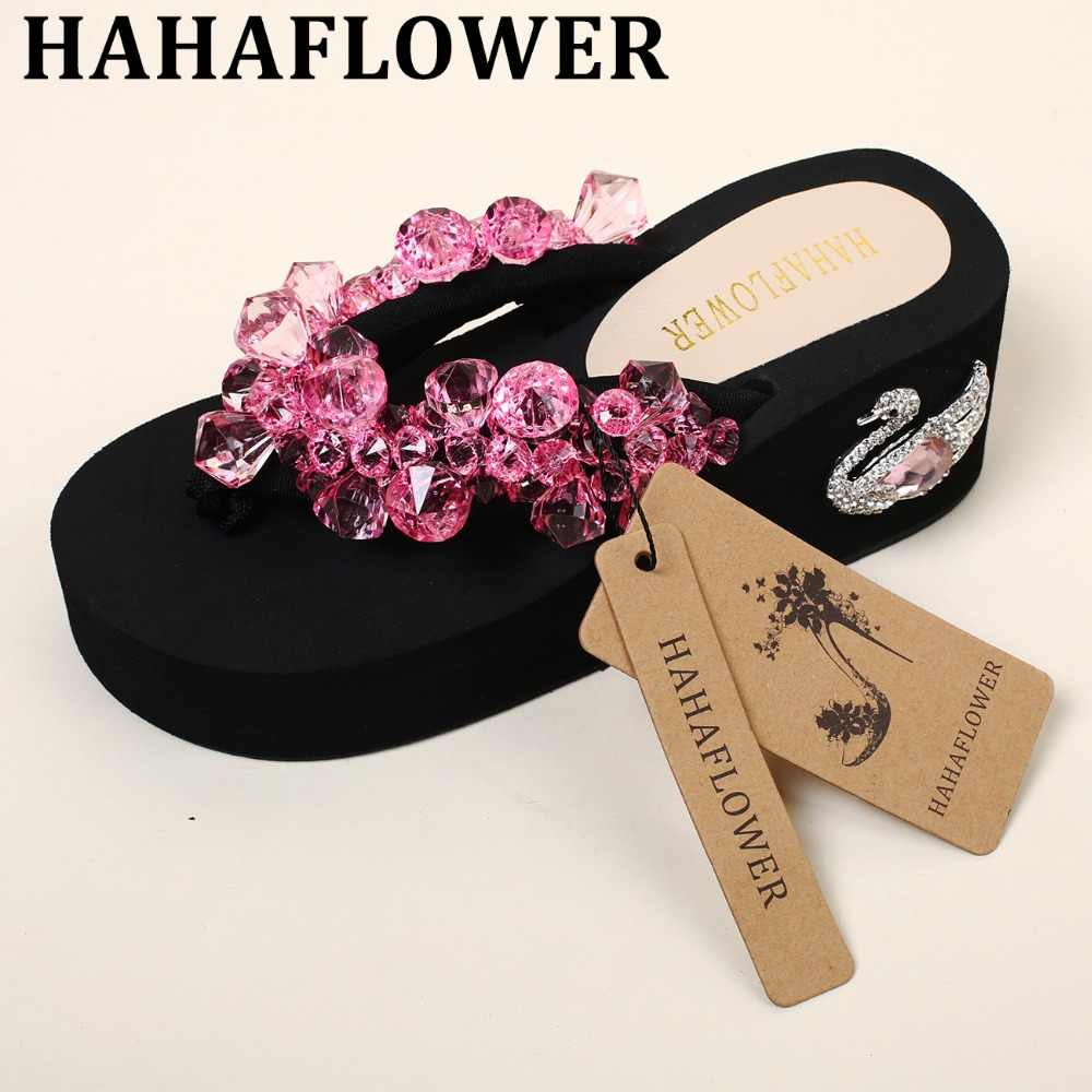 6187a18289af HAHAFLOWER New High Heels girl Beach Slippers Summer Rhinestone Diamond  Swan platforms wedges Muffin Sandals Flip