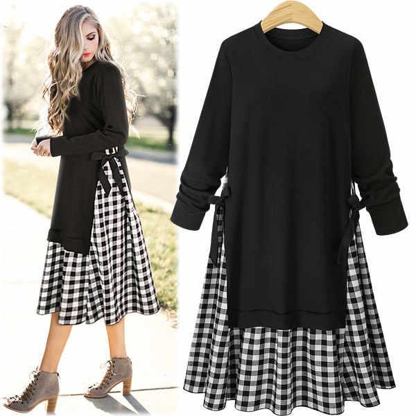LANMREM/Новинка 2019 года; модное весеннее черное платье с круглым вырезом и длинными рукавами в стиле пэчворк; клетчатое платье Hme с боковой повязкой; большие размеры; Vestido YE595