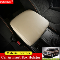 QCBXYYXH Car styling Car Pad Cover Leather Storage Protection Cushion Auto Seat Armrest Box Pads For Nissan Patrol y62 2017 2018