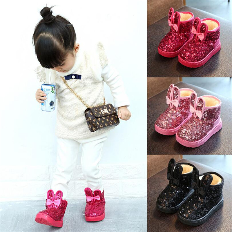 Winter 2018 Children Boots Girls Sequins Cotton Baby Warm Shoes Student Girl  Snow Boots Cotton Princess Boots Kids Sneakers 229091b60965