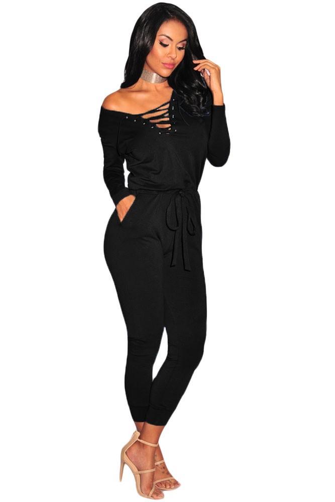 Black-Grommet-Lace-Up-Long-Sleeve-Jumpsuit-LC64223-2-1
