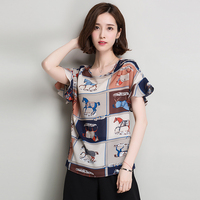 Summer Chiffon Embroidered Blouses Short Sleeve Ladies Casual Tops Horse Print Floral Shirts Peplum Women Plaid
